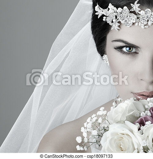 Portrait of beautiful bride. Wedding dress. Wedding decoration - csp18097133