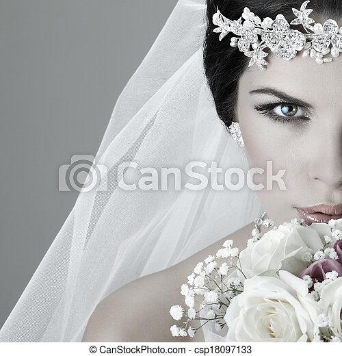 Portrait of beautiful bride. Wedding dress. Wedding decoration - csp18097133