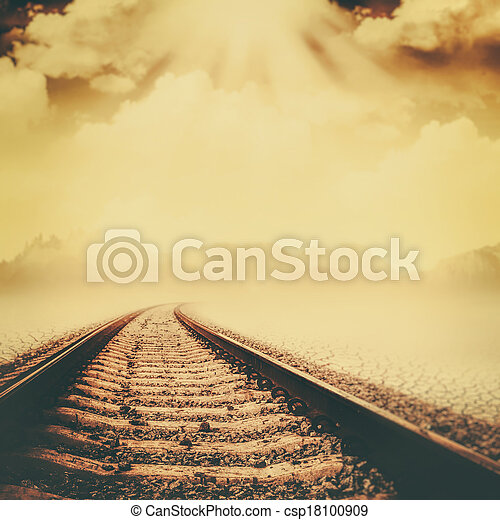 Railroad through the dead valley, abstract environmental backgrounds - csp18100909