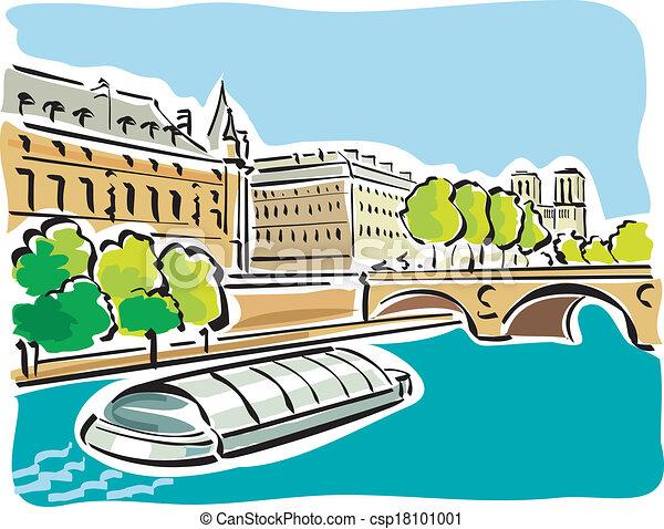 Clipart Vecteur de paris, Bateaux, Mouches - Illustration, bateaux ...