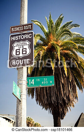 Historic route 66 highway sign - csp18101466