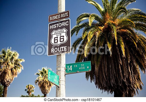 Historic route 66 highway sign - csp18101467