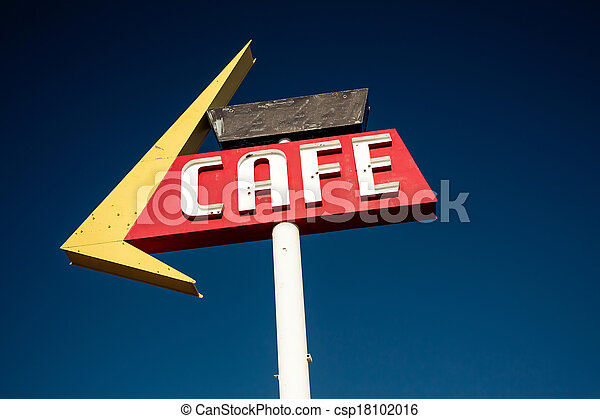 Cafe sign along historic Route 66 - csp18102016