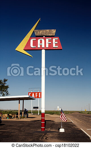 Cafe sign along historic Route 66 - csp18102022