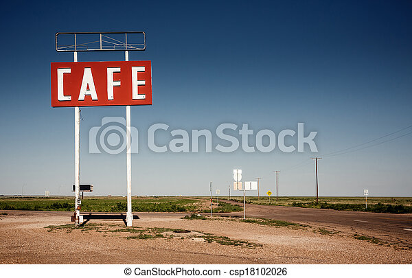 Cafe sign along historic Route 66 - csp18102026