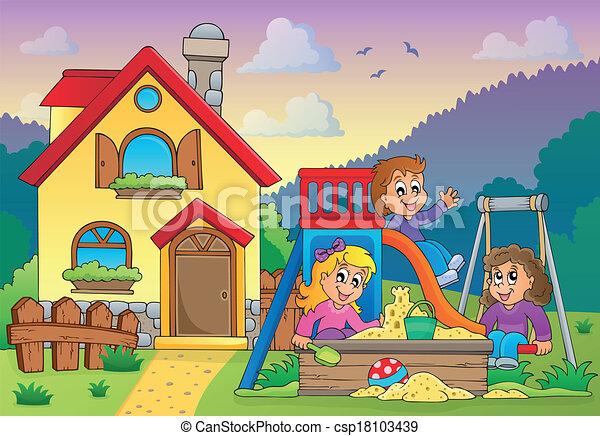 Vectors of children playing near house theme 1 eps10 for My home pictures for kids