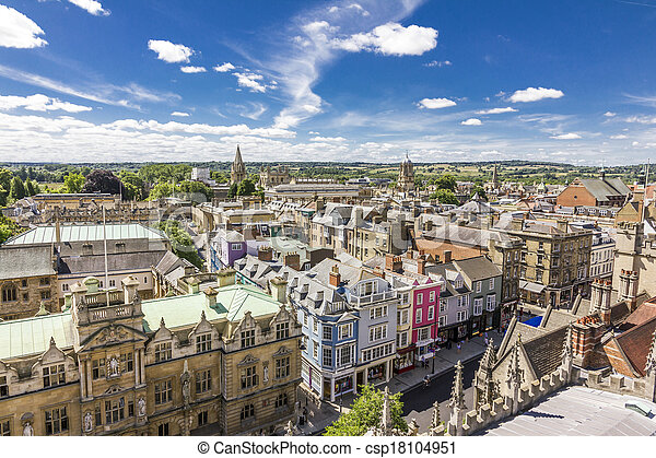 Aerial view of roofs of oxford  - csp18104951