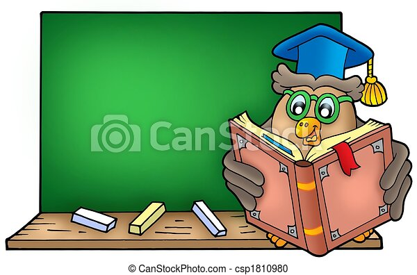 Owl teacher reading book on blackboard - csp1810980