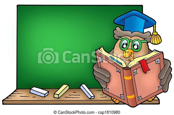 Owl teacher reading book on blackboard - csp1810980