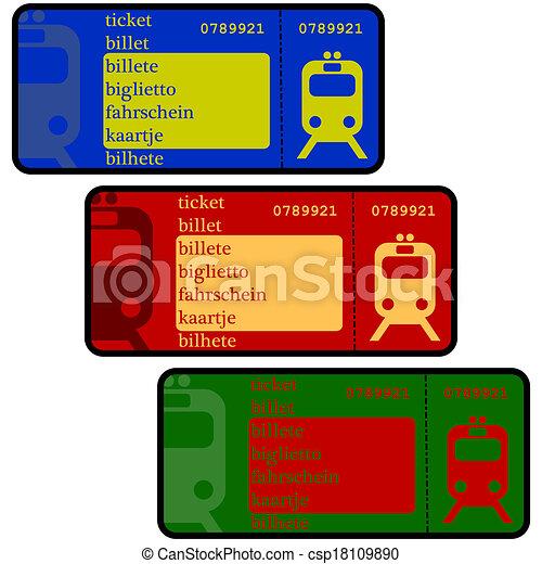 EPS Vectors of Train tickets - Cartoon illustration ...