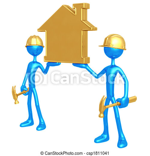 Construction Workers Holding Golden Home - csp1811041
