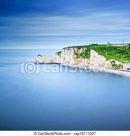 Etretat cliff, rocks landmark and ocean . Normandy, France. - csp18111027