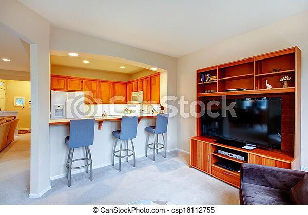 Stock beelden van levend, cozy, kamer, tv, bovenzijde, kabinet ...