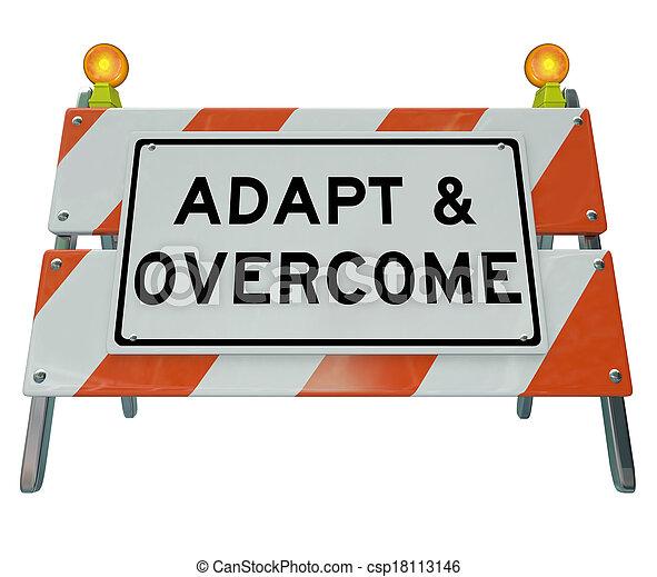 路, 挑戰, 解決, 簽署, 路障, 適應, 問題, 克服 - csp18113146