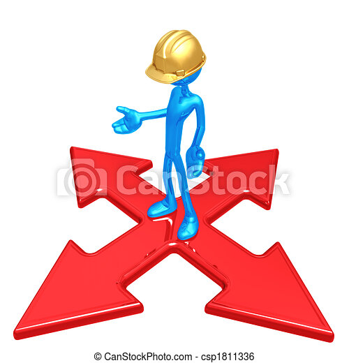 Construction Worker At The Crossroads - csp1811336