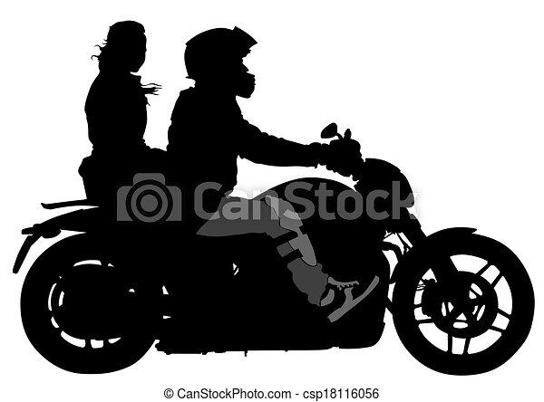 Vecteur clipart de couple moto silhouettes de grand - Dessin moto sportive ...