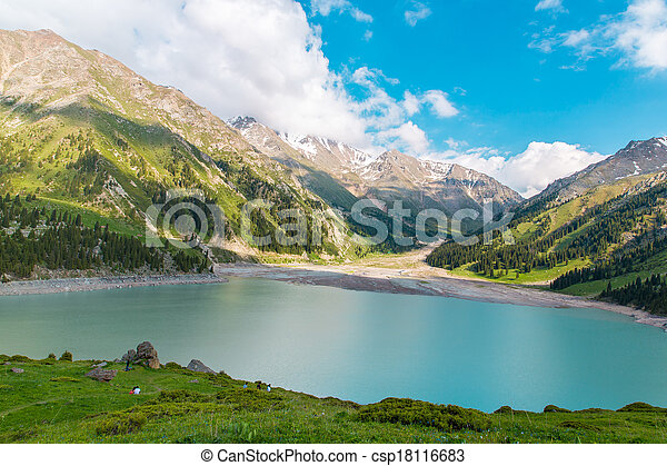 Spectacular scenic Big Almaty Lake , Tien Shan Mountains in Almaty, Kazakhstan, Asia at summer - csp18116683