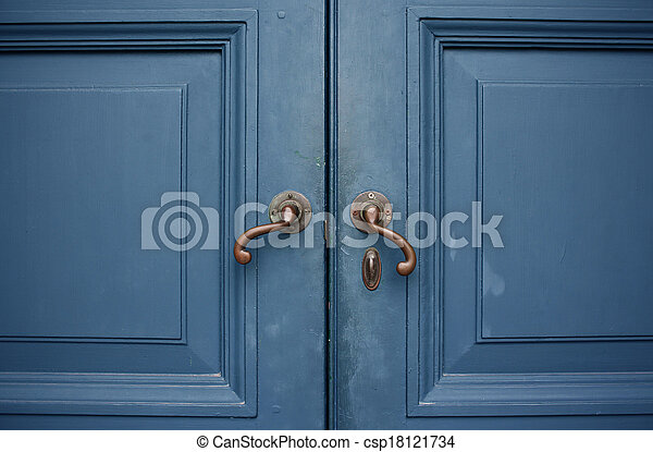 Stock de fotos de azul puerta color doble manijas for Manijas para puertas de madera