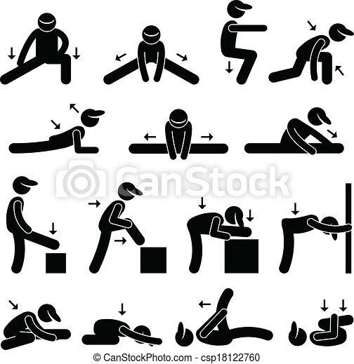 Clip Art Vector van lichaam, Stretching, Oefening ...