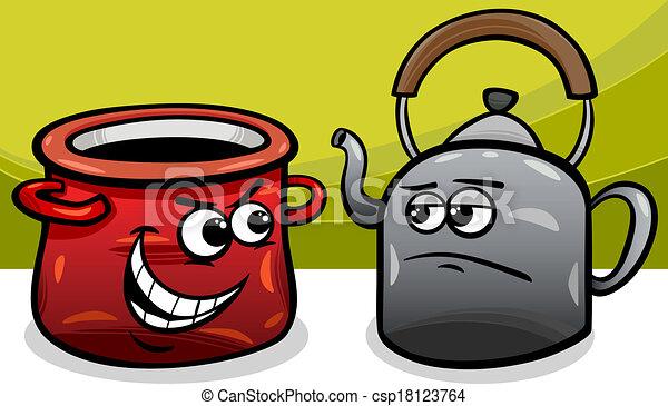 pote, chaleira, pretas, caricatura, chamando - csp18123764