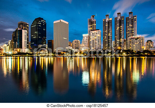 reflection of lighting city scape a