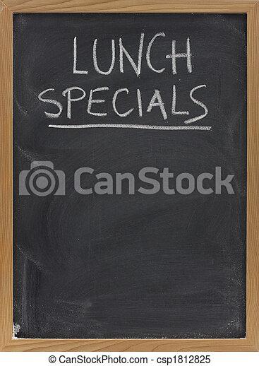 lunch specials on blackboard in vertical - csp1812825