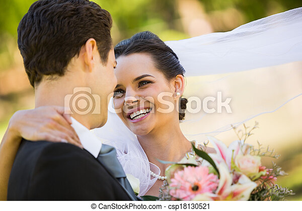 Romantic newlywed looking at each other in park - csp18130521