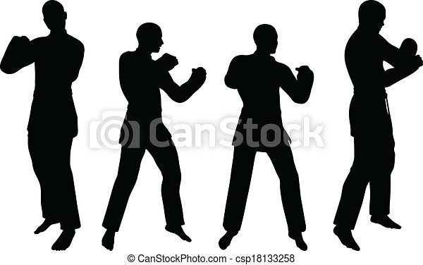 Clipart Vector of Karate martial art silhouettes of men and women ...