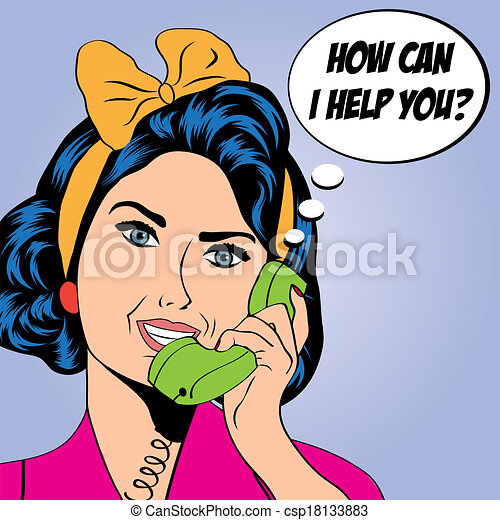 woman chatting on the phone, pop art illustration - csp18133883