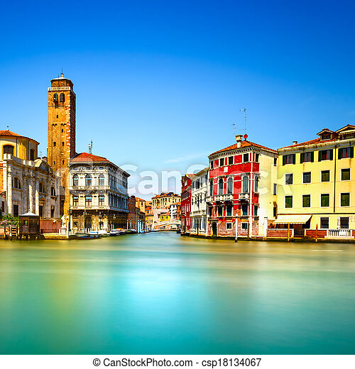Venice grand canal, San Geremia church campanile landmark. Italy, Europe. Long exposure photography. - csp18134067