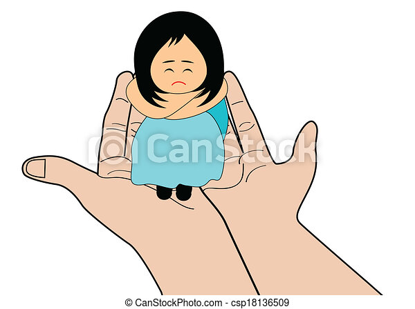 Vector Clipart of Sad girl - A little girl feeling upset - sadness and ...