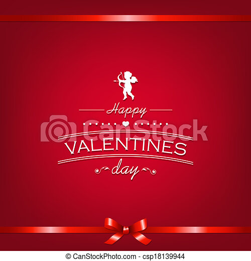 Happy Valentines Day Card With Ribbon - csp18139944