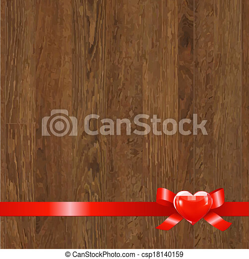 Wooden Panel With Red Ribbon - csp18140159