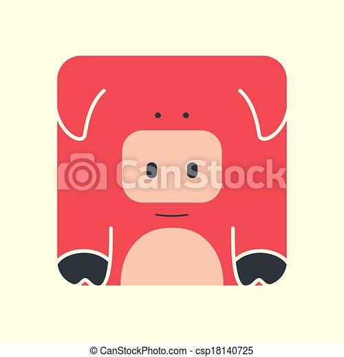 Cute Pig Logo Flat Square Icon of a Cute Pig