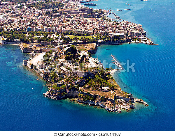 Old fortress of Corfu town, aerial - csp1814187