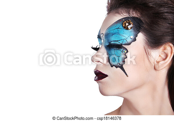 Color face art portrait. Fashion Make up. Butterfly makeup on face beautiful woman. Isolated on white background. - csp18146378