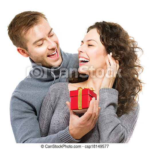 Valentine Gift. Happy Young Couple with Valentine's Day Present - csp18149577