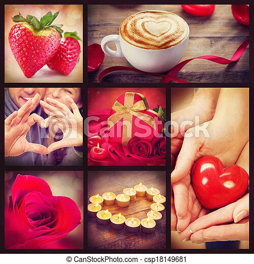 valentines, arte, colagem,  Valentine, desenho, corações, Dia - csp18149681