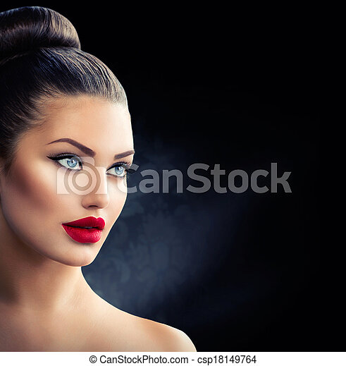 Fashion Model Girl Portrait with Blue Eyes and Sexy Red Lips - csp18149764