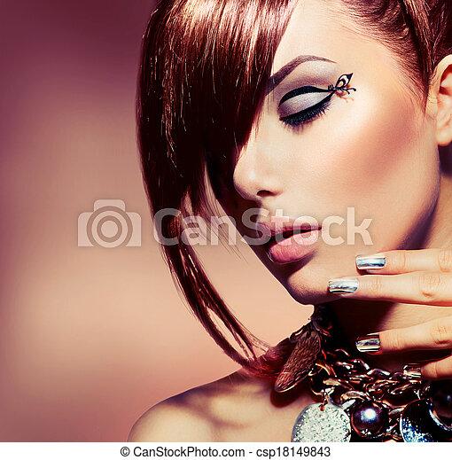 Fashion Model Girl Portrait. Trendy Hair Style - csp18149843