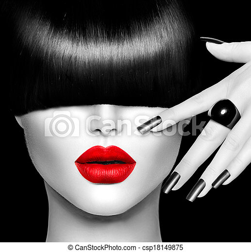 Fashion Model Girl with Trendy Hairstyle, Makeup and Manicure - csp18149875