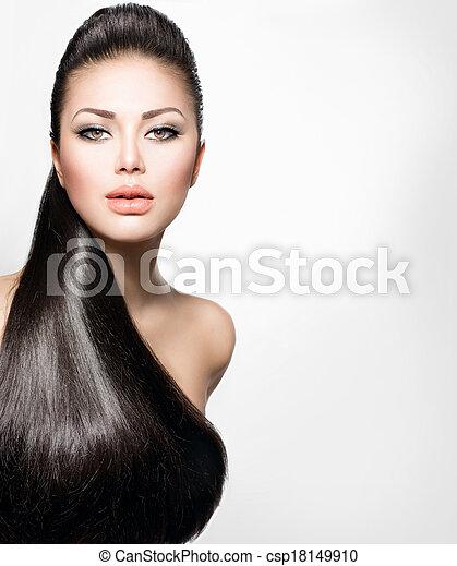 Moda, sano, derecho, largo, pelo, modelo, niña - csp18149910