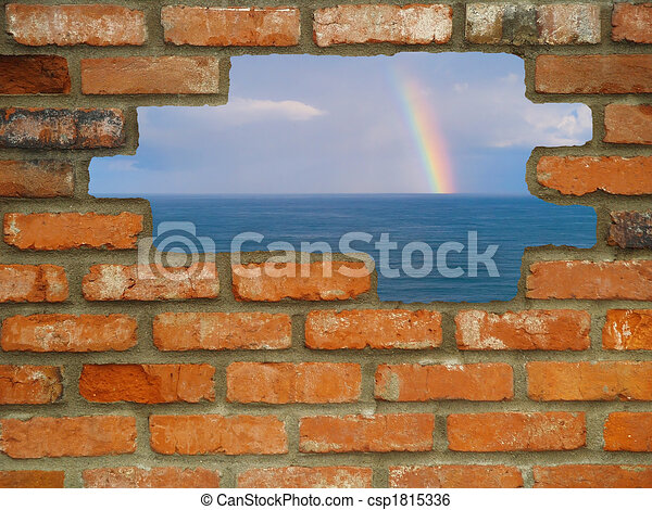 Hole in the Wall Rainbow Escape - csp1815336