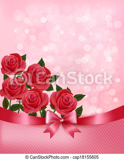 Holiday background with bouquet of pink flowers with bow and ribbon. Vector illustration. - csp18155605