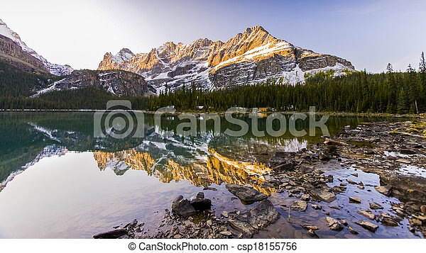Beautiful Lake Ohara in Banff National Park - csp18155756