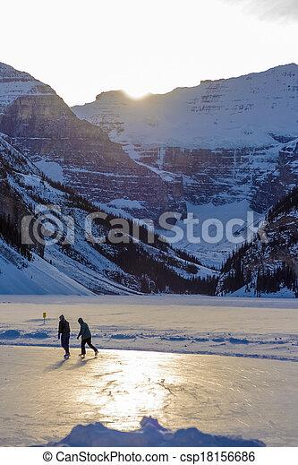 Skating on Rink at Lake Louise - csp18156686