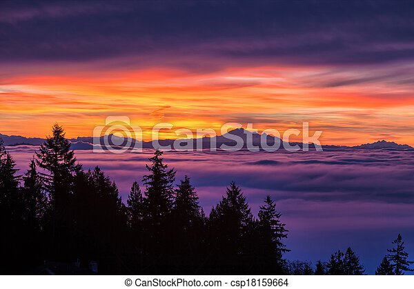 sunrise and cloudy sky - csp18159664
