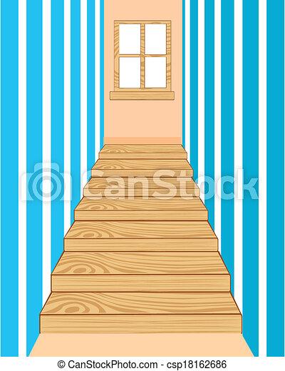 Vector de de madera escalera pasillo ilustraci n de - Fotos de pasillos de casas ...