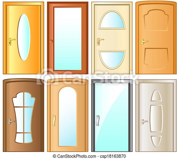 Illustrations vectoris es de int rieur maison moderne porte collection - Porte maison interieur ...