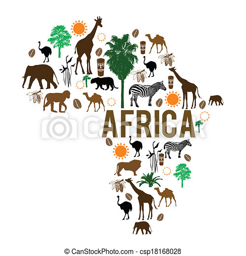 Africa landmark map silhouette icons - csp18168028